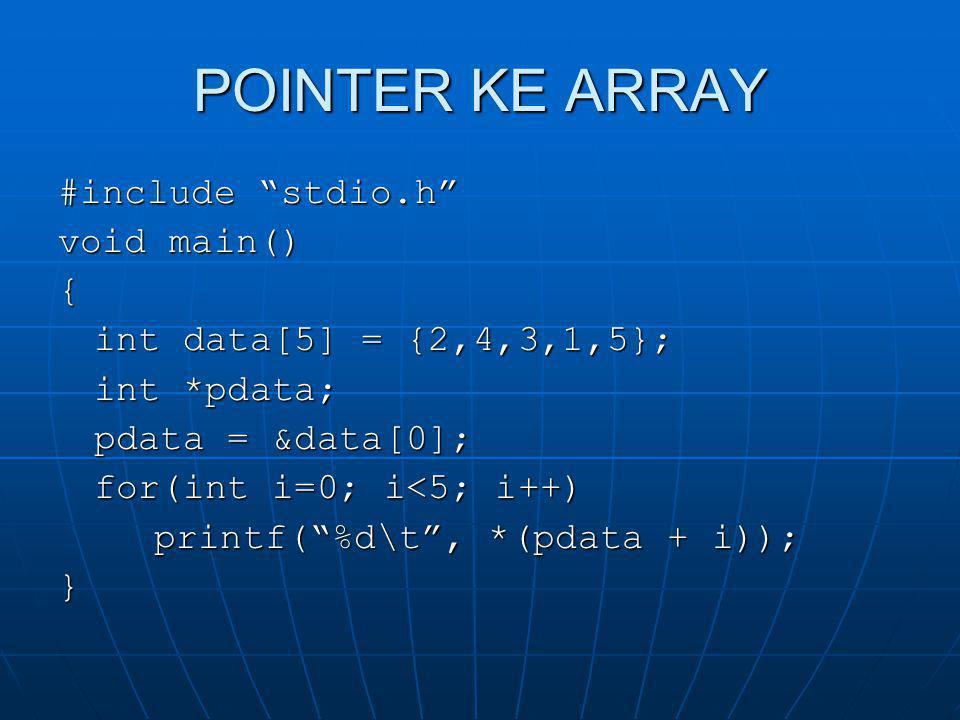 POINTER KE STRUCT #include stdio.h void main() {struct { int jari_jari; float luas; }lingkaran, *pdata; pdata = &lingkaran; pdata->jari_jari = 10; pdata->luas = 314; printf( Jari jari = %d\tLuas = %f\n , pdata->jari_jari, pdata->luas); }