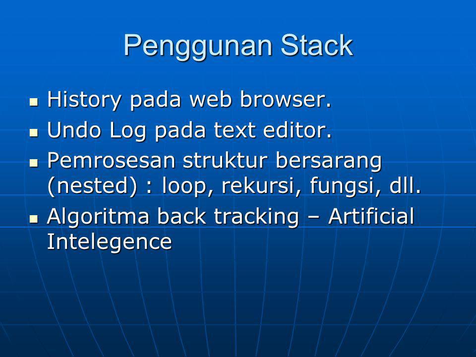 Operasi Dasar Stack Push :memasukkan sebuah item baru ke dalam stack.