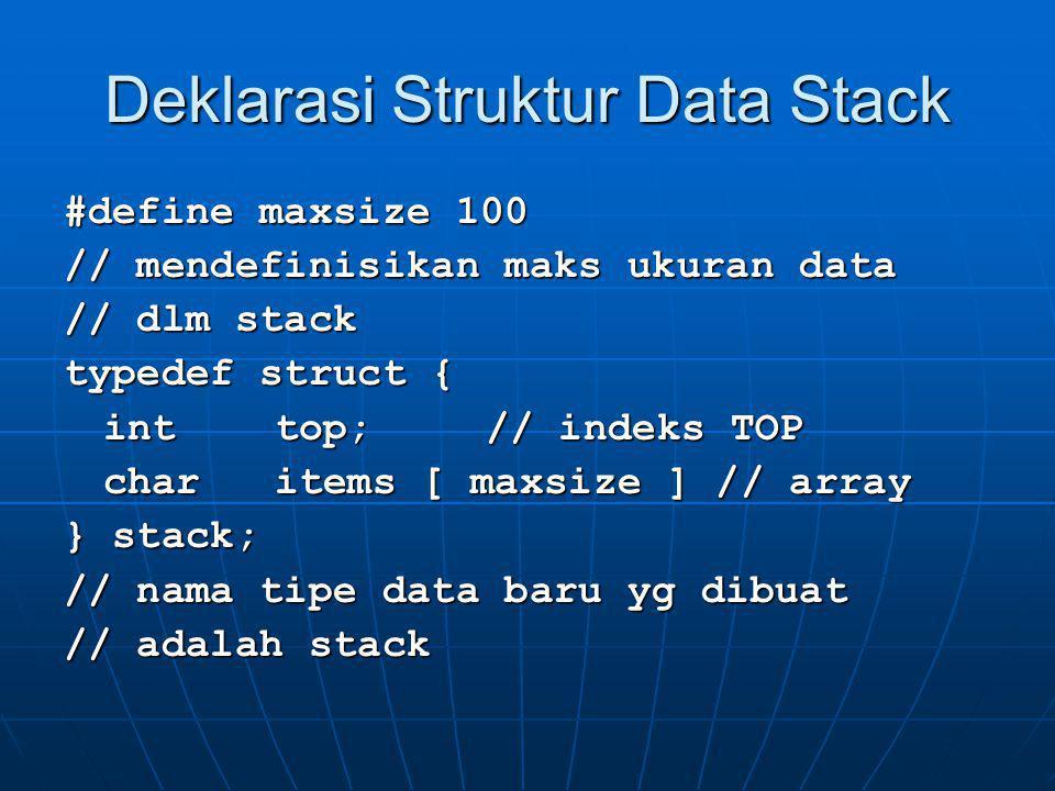 Deklarasi Fungsi-Fungsi Stack void initialize ( stack *s) void initialize ( stack *s) void pop ( stack *s, char *x ) void pop ( stack *s, char *x ) void push ( stack *s, char x ) void push ( stack *s, char x ) void show ( stack *s ) void show ( stack *s )