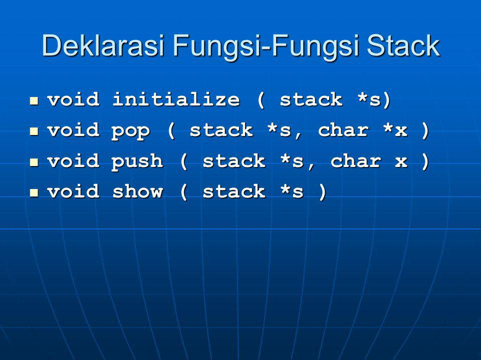 Fungsi Initialize void initialize ( stack *s) // operasi initialize dg parameter // s bertipe pointer stack { s -> top = -1; // top = -1  stack dlm kondisi empty }