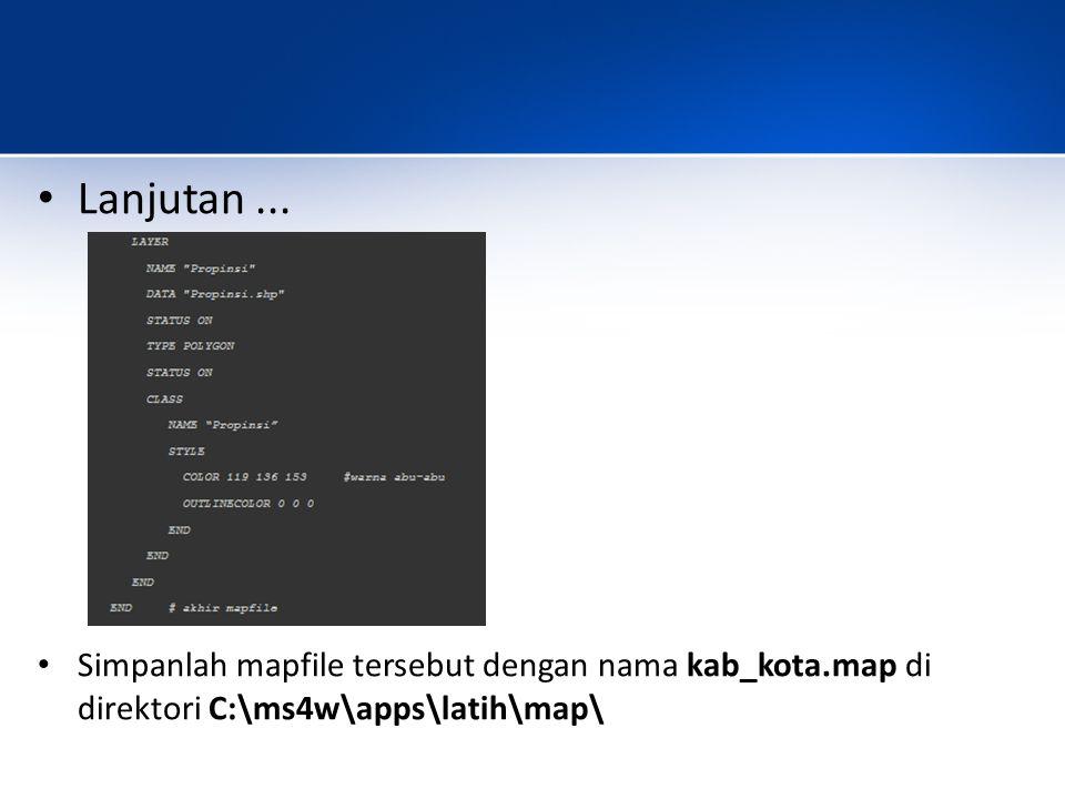 Buka kembali file c:\ms4w\apps\latih\htdocs\peta.html dan ubahlah menjadi seperti berikut ini: