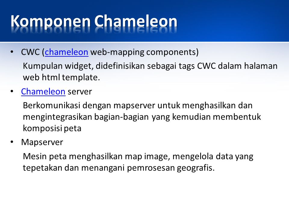 Chameleon Widgets CursorPos KeepSessionAlive LegendTemplate MapDHTMLWidget MapSize MapTitle PanMap Query Scalebar SharedResource UpdateMap ZoomAllLayers ZoomIn ZoomOut http://www.gommap.org/gommap/docs/gommap_widget_reference.html