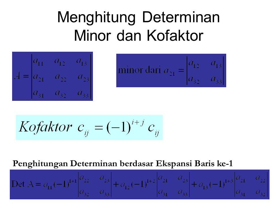Kofaktor Aij diperoleh dengan mencoret baris I dan kolom j dan mengalikan (-1) i+j dengan determinan yang dihasilkan, sehingga: