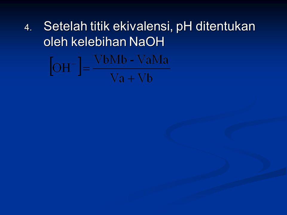 4. Setelah titik ekivalensi, pH ditentukan oleh kelebihan NaOH