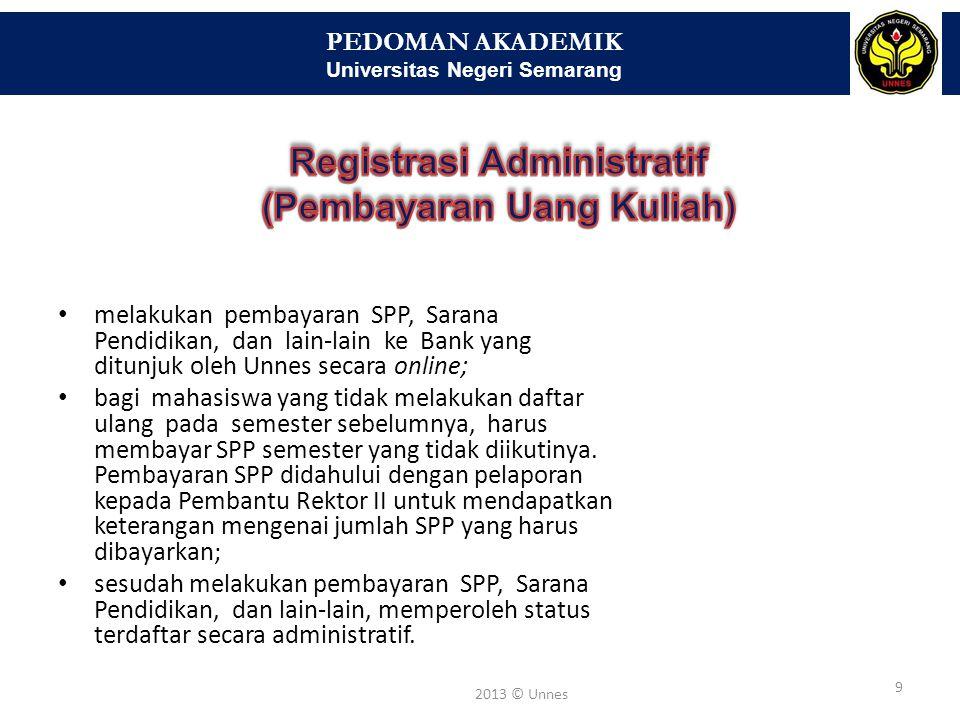 PEDOMAN AKADEMIK Universitas Negeri Semarang 10 2013 © Unnes Jurusan menawarkan daftar mata kuliah melalui Sikadu.