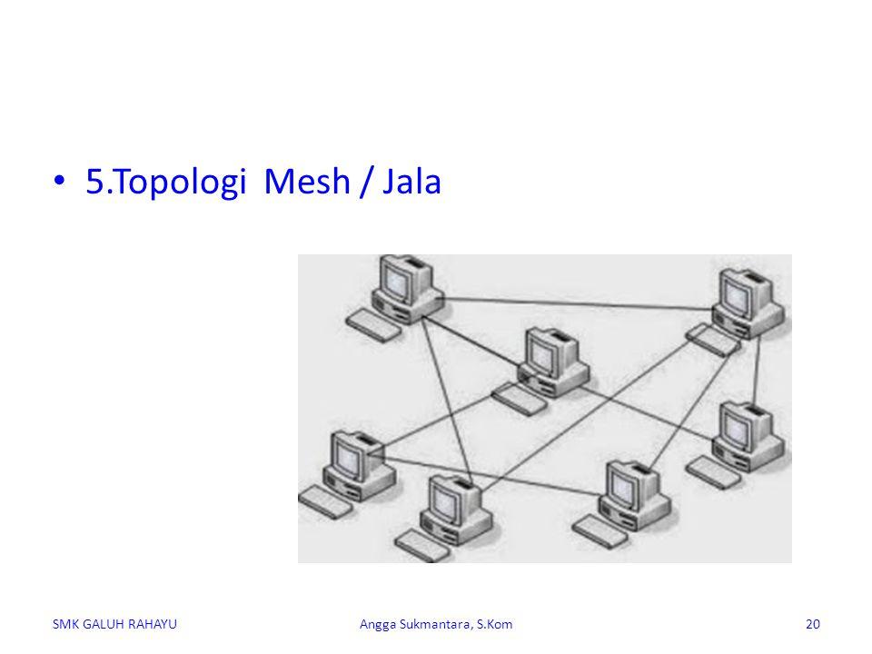 Topologi Mesh merupakan rangkaian jaringan yang saling terhubung secara mutlak dimana setiap perangkat komputer akan terhubung secara langsung ke setiap titik perangkat lainnya.