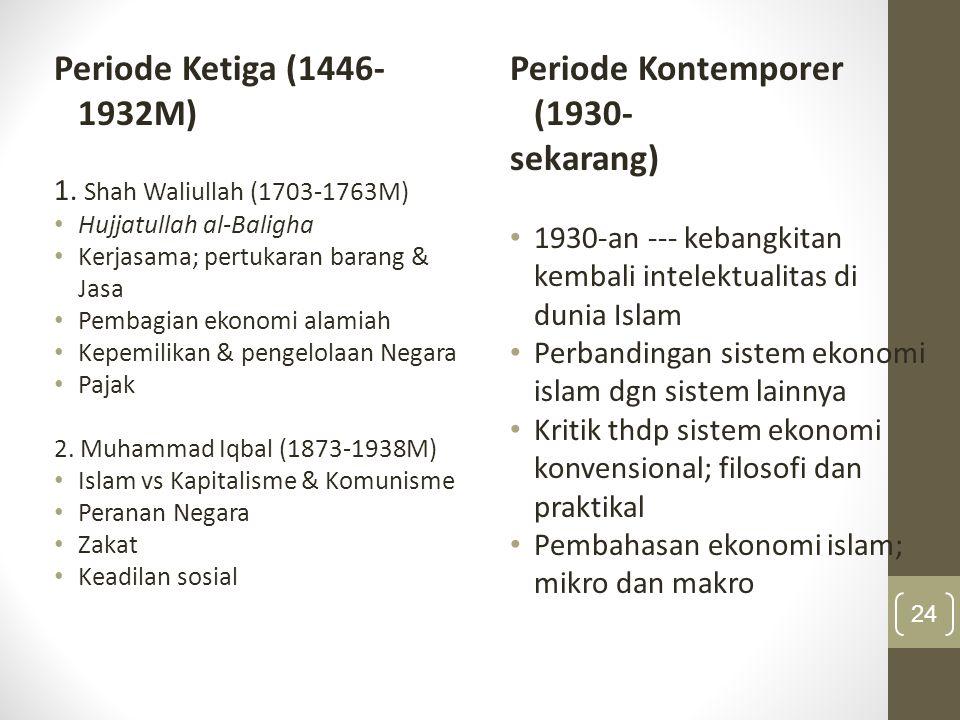 Periode Ketiga (850 – 1350 H / 1446 – 1932)  Era kemunduran Islam dalam berbagai bidang, tetapi terdapat beberapa pemikiran ekonomi yang berbobot selama dua ratus tahun terakhir  Shah Waliullah (1114-1176 M / 1703-1762 M), Muhammad bin Abdul Wahab (1206 H / 1787 M), Jamaluddin al Afghani (1294 M / 1897 M), Muhammad Abduh (1320 H / 1905 M), Muhammad Iqbal (1356 M / 1938 M).