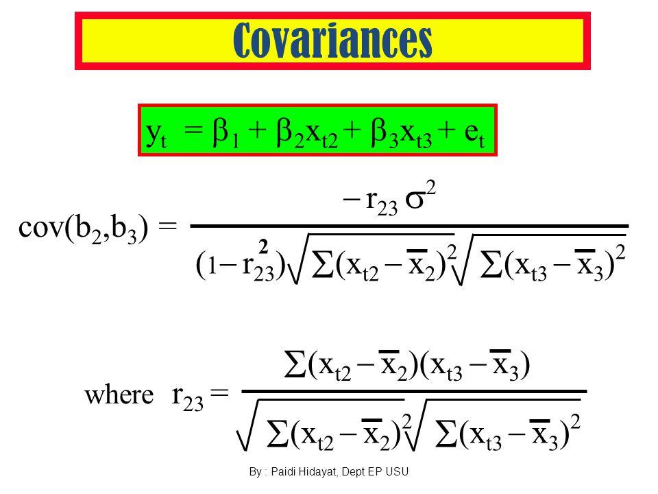By : Paidi Hidayat, Dept EP USU Covariances y t =  1 +  2 x t2 +  3 x t3 + e t where r 23 =  (x t2  x 2 ) 2  (x t3  x 3 ) 2  (x t2  x 2 )(x t3  x 3 ) 2 ( 1  r 23 )  (x t2  x 2 ) 2  (x t3  x 3 ) 2 cov(b 2,b 3 ) =  r 23  2