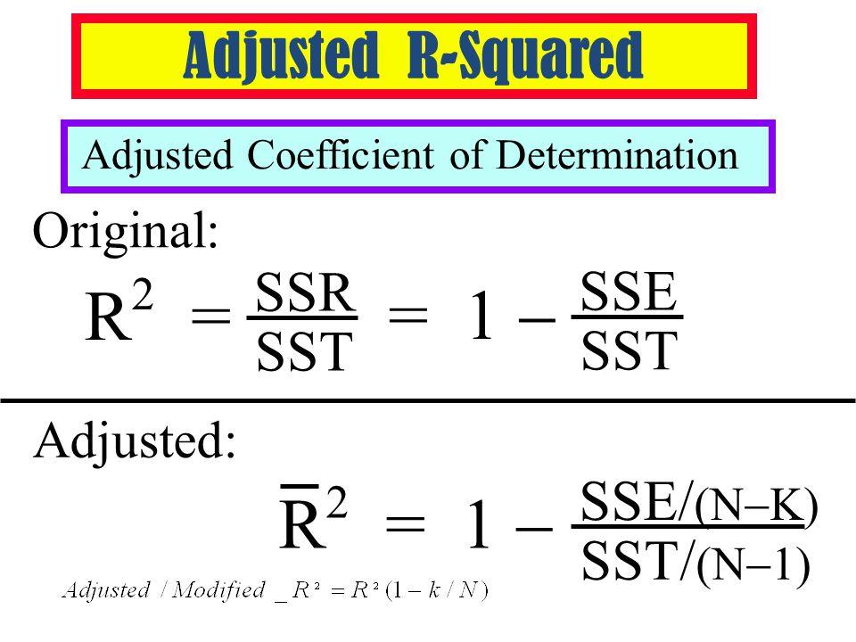 Adjusted R-Squared Adjusted Coefficient of Determination Original: Adjusted: SST/ (N  1) R 2 = 1  SSE/ (N  K) SST = 1  SSE R 2 = SST SSR