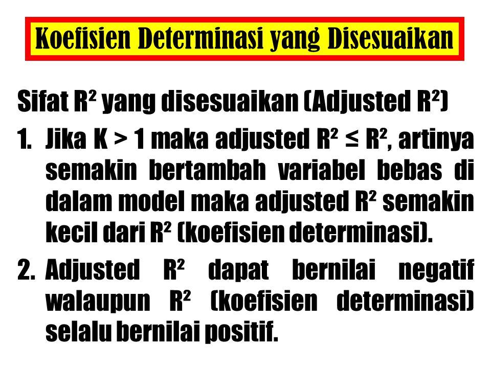 Koefisien Determinasi yang Disesuaikan Sifat R² yang disesuaikan (Adjusted R²) 1.Jika K > 1 maka adjusted R² ≤ R², artinya semakin bertambah variabel bebas di dalam model maka adjusted R² semakin kecil dari R² (koefisien determinasi).