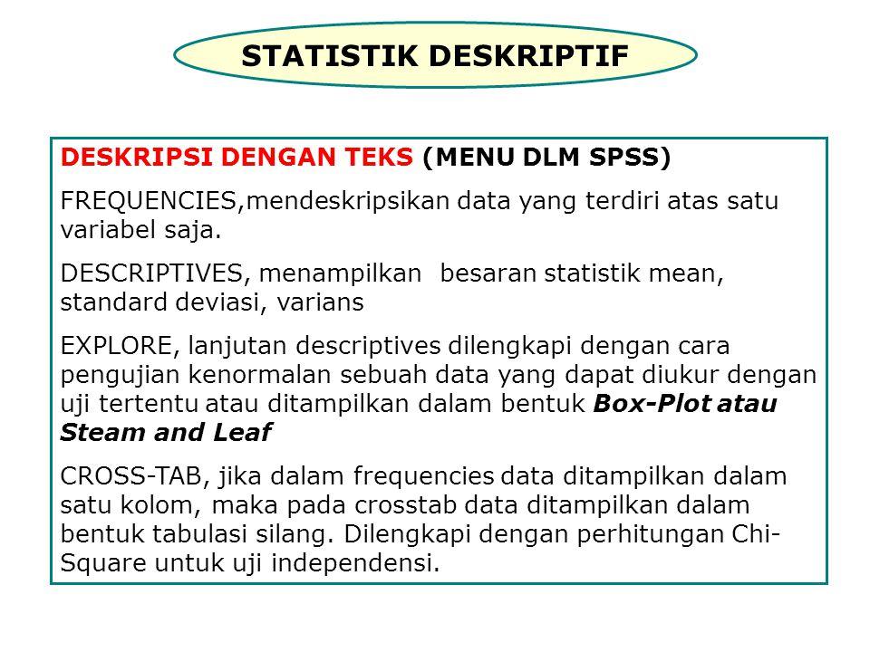 STATISTIK DESKRIPTIF DESKRIPSI DENGAN TEKS (MENU DLM SPSS) FREQUENCIES,mendeskripsikan data yang terdiri atas satu variabel saja.
