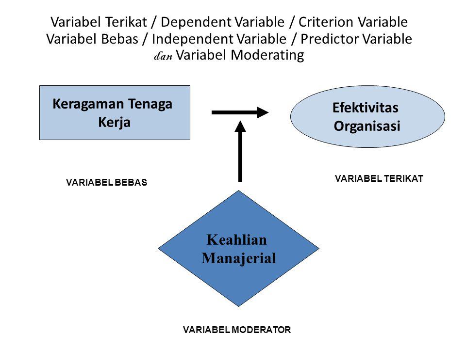 Keragaman Tenaga Kerja Efektivitas Organisasi Keahlian Manajerial VARIABEL BEBAS VARIABEL TERIKAT VARIABEL MODERATOR Variabel Terikat / Dependent Variable / Criterion Variable Variabel Bebas / Independent Variable / Predictor Variable dan Variabel Moderating
