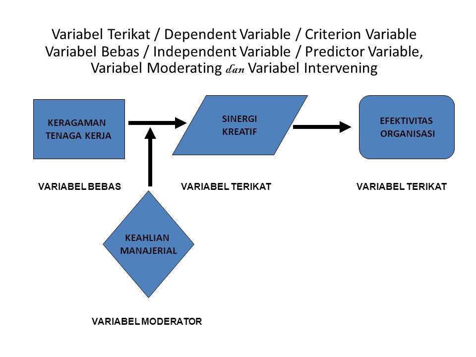 SINERGI KREATIF KERAGAMAN TENAGA KERJA EFEKTIVITAS ORGANISASI KEAHLIAN MANAJERIAL VARIABEL BEBASVARIABEL TERIKAT VARIABEL MODERATOR Variabel Terikat / Dependent Variable / Criterion Variable Variabel Bebas / Independent Variable / Predictor Variable, Variabel Moderating dan Variabel Intervening