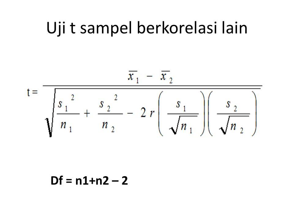 Uji t sampel berkorelasi lain Df = n1+n2 – 2