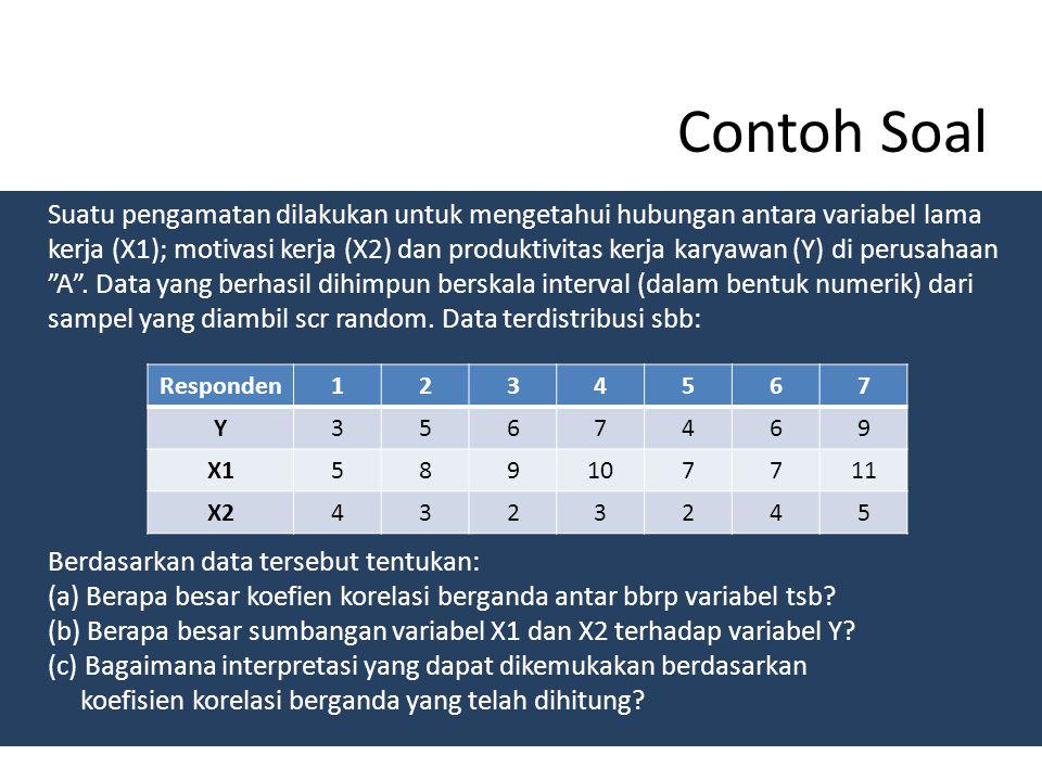 Contoh Soal Suatu pengamatan dilakukan untuk mengetahui hubungan antara variabel lama kerja (X1); motivasi kerja (X2) dan produktivitas kerja karyawan (Y) di perusahaan A .