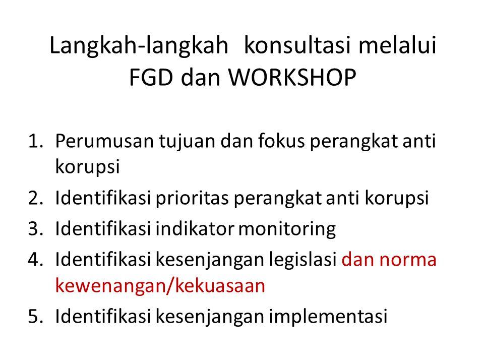 1. Perumusan tujuan dan fokus perangkat anti korupsi