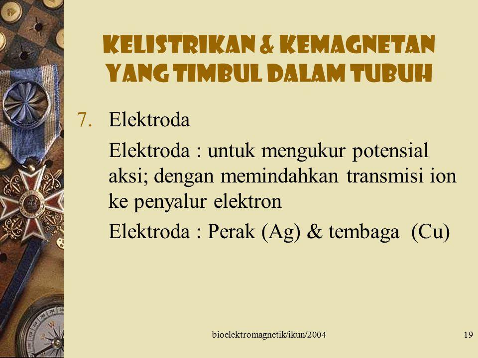 bioelektromagnetik/ikun/200420 Kelistrikan & kemagnetan yang timbul dalam tubuh 8.Isyarat listrik tubuh Hasil perlakuan kimia dari tipe sel-sel +++ untuk memperoleh informasi klinik tentang fungsi tubuh EMG (Elektromiogram) ENG (Elektroneurogram)  miastenia gravis ERG (Elektroretinogram)  perubahan pigmen retina EOG (Elektroakulagram) EGG (Elektrogastrogram)  gerakan peristaltik EEG (Elektroensefalogram)  epilepsi EKG (Elektrokardiogram)
