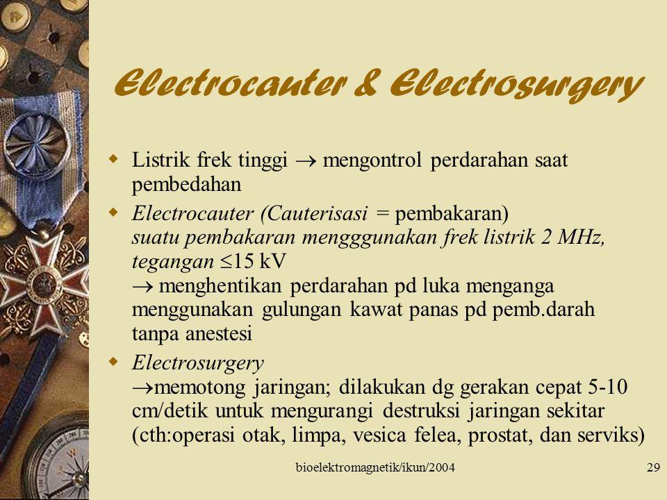 bioelektromagnetik/ikun/200430 Defibrillator  SA Node di puncak atrium kanan dekat Vena cava superior  pace maker  scr sinkron memompa darah ke sirkulasi paru-paru & ke sirkulasi darah sistemik; kehilangan sinkronisasi  FIBRILASI  Fibrilasi atrium: f(x) ventrikel normal  ritme jantung iregular  Fibrilasi ventrikel: tdk mampu memompa darah; jika tdk dilakukan koreksi dlm bbrp menit  kematian