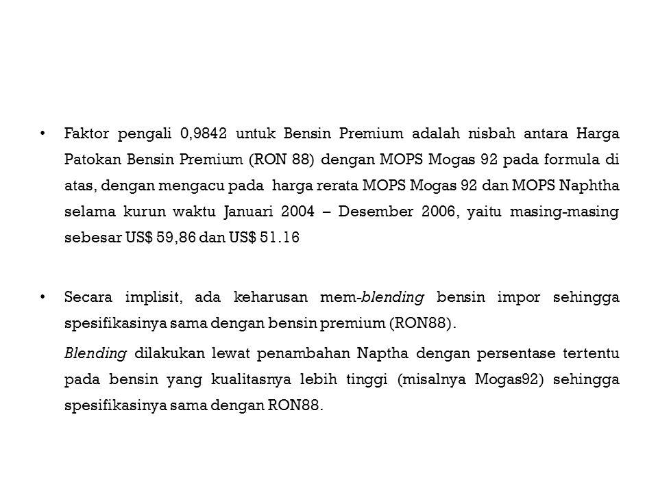 Harga Indeks Pasar yang digunakan dalam menghitung Harga Patokan didasarkan pada benchmark yang bias Indonesia adalah pembeli tunggal bensin RON 88, dengan volume pembelian jauh lebih besar dibandingkan dengan transaksi Mogas 92 di kawasan Asia Tenggara.