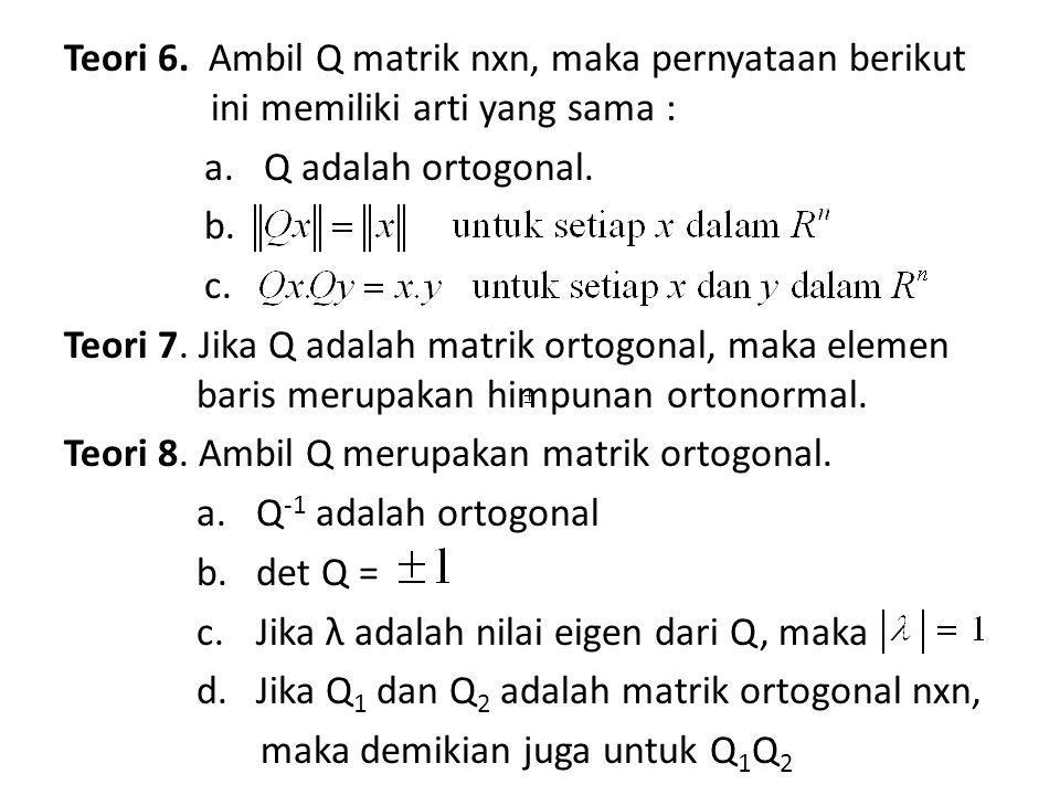 = {v dalam R n : v.w = 0 untuk semua w dalam W} Komplemen ortogonal Definisi : Ambil W subruang dari R n.