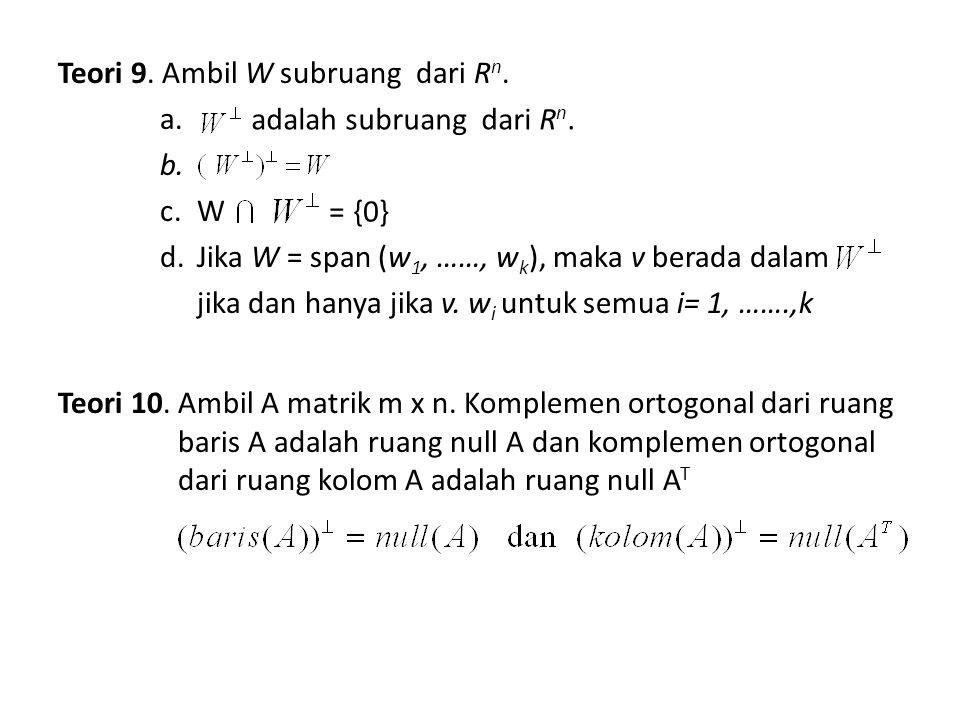 Jadi suatu matrik m x n mempunyai 4 subruang :  baris (A) dan null (A) : komplemen ortogonal dari R n  kolom (A) dan null (A T ): komplemen ortogonal dari R m Disebut : subruang fundamental dari matrik A mx n baris (A) kolom (A) null (A) null (A T ) 00 RmRm RnRn TATA
