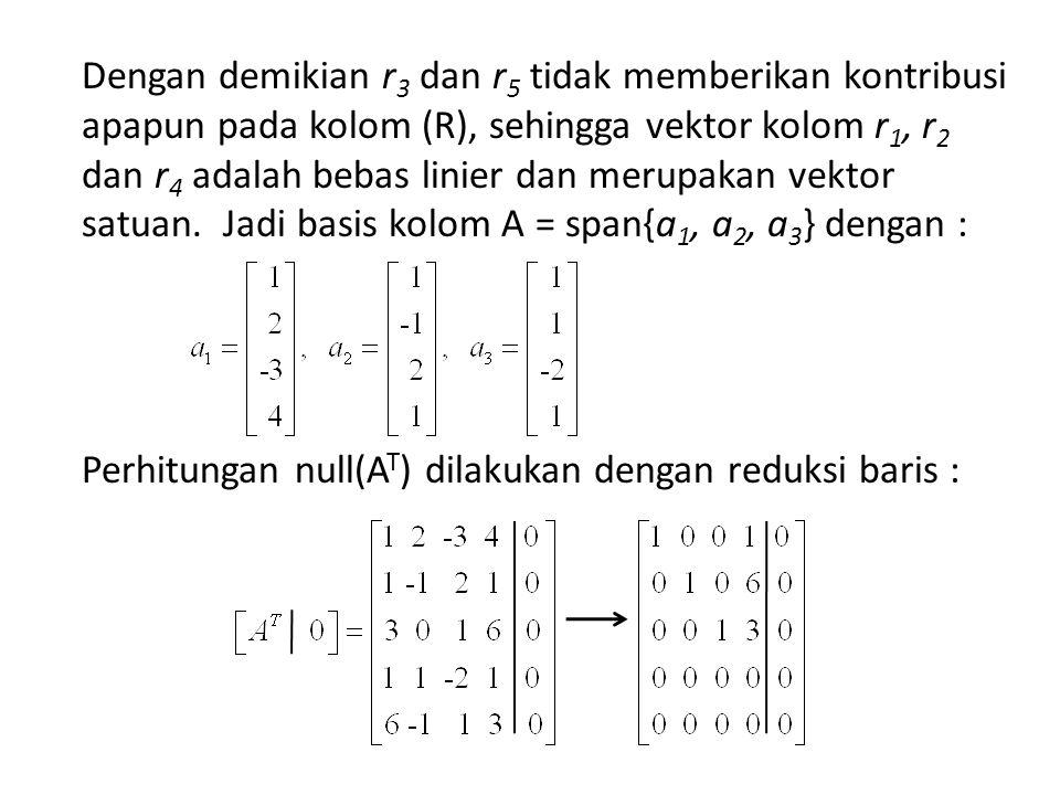 Jika y didalam null(A T ) dengan y 1 = - y 4, y 2 = -6 y 4 dan y 3 = -3y 4, maka dapat diperoleh hasil : null(A T ) = Dengan mudah dapat dibuktikan bahwa vektor tersebut ortogonal dengan a 1, a 2, a 3 sehingga terbukti bahwa :