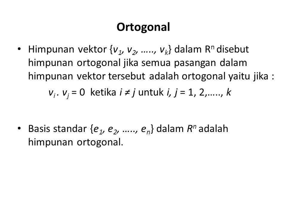 Contoh : Tunjukkan bahwa {v 1, v 2, v 3 } adalah himpunan ortogonal dalam R 3 jika : Jawab : Harus ditunjukkan bahwa setiap pasang adalah ortogonal v 1.