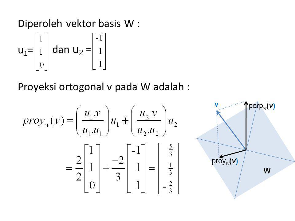 Dan komponen v ortogonal pada W adalah : perp w (v) = v – proj w (v)= Dengan mudah dapat di tunjukkan bahwa proj w (v) berada dalam W karena hasilnya memenuhi persamaan bidang.