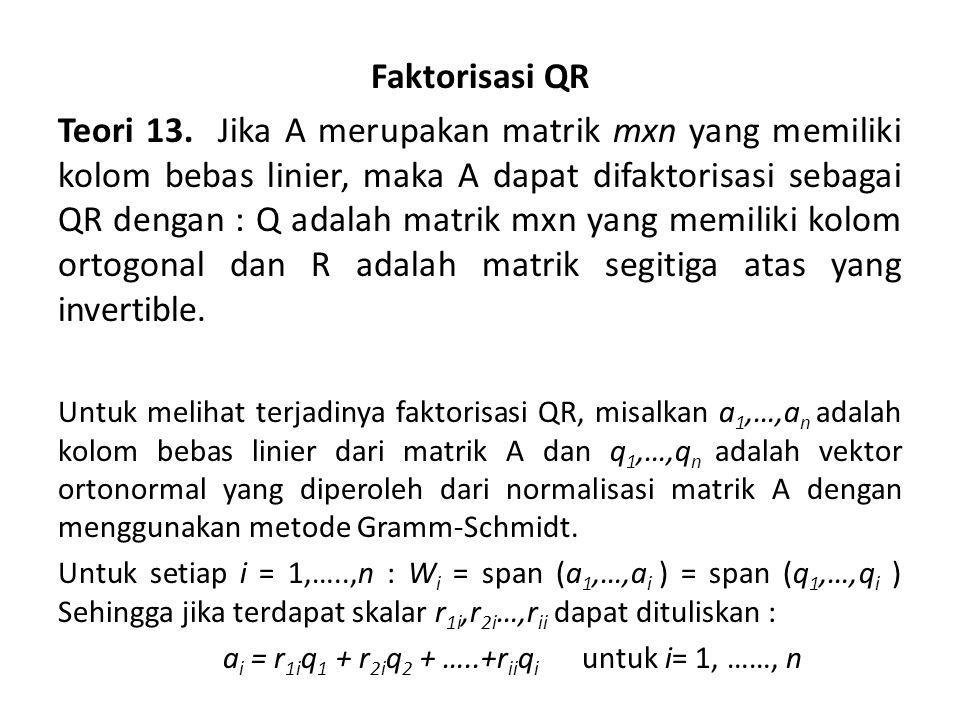 Diperoleh hasil : a 1 = r 11 q 1 a 2 = r 12 q 1 + r 22 q 2 a n = r 1n q 1 + r 2n q 2 + …..+r nn q n Dituliskan dalam bentuk matrik sebagai berikut :