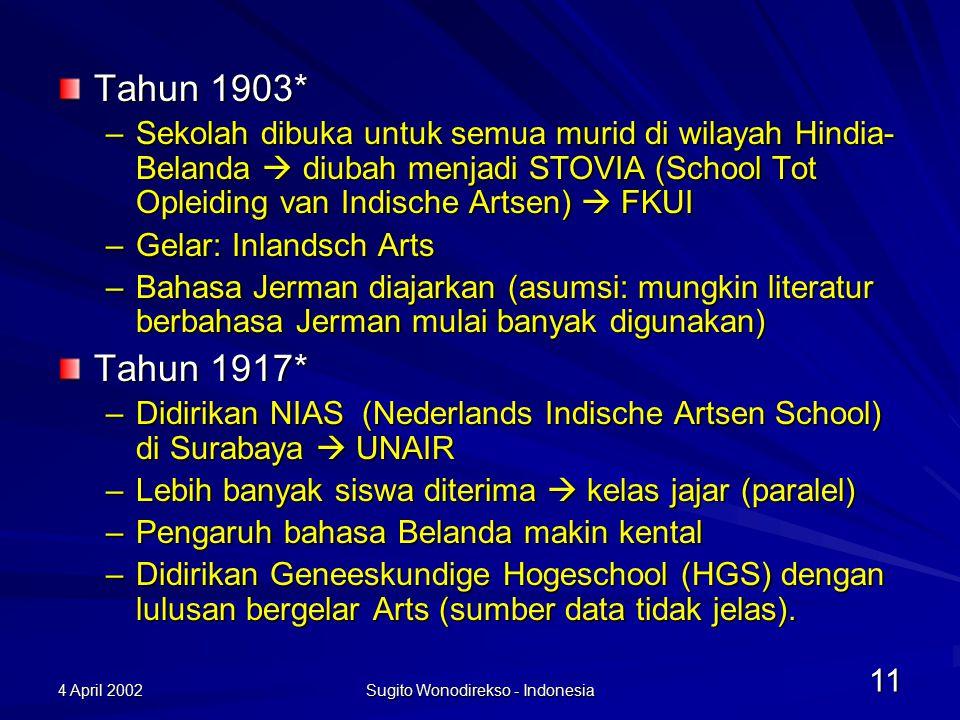 4 April 2002 Sugito Wonodirekso - Indonesia 12 Pengaruh Jepang Ika-Dai-Gaku menggantikan STOVIA, GHS, dan NIAS Belum menghasilkan dokter Bahasa pengantar: Jepang, Jerman, Inggeris, Indonesia (pertama kali digunakan di Perguruan Tinggi) Nasionalisme meningkat  Mulai dikumpulkan istilah kedokteran dan terjemahannya ke dalam bahasa Indonesia
