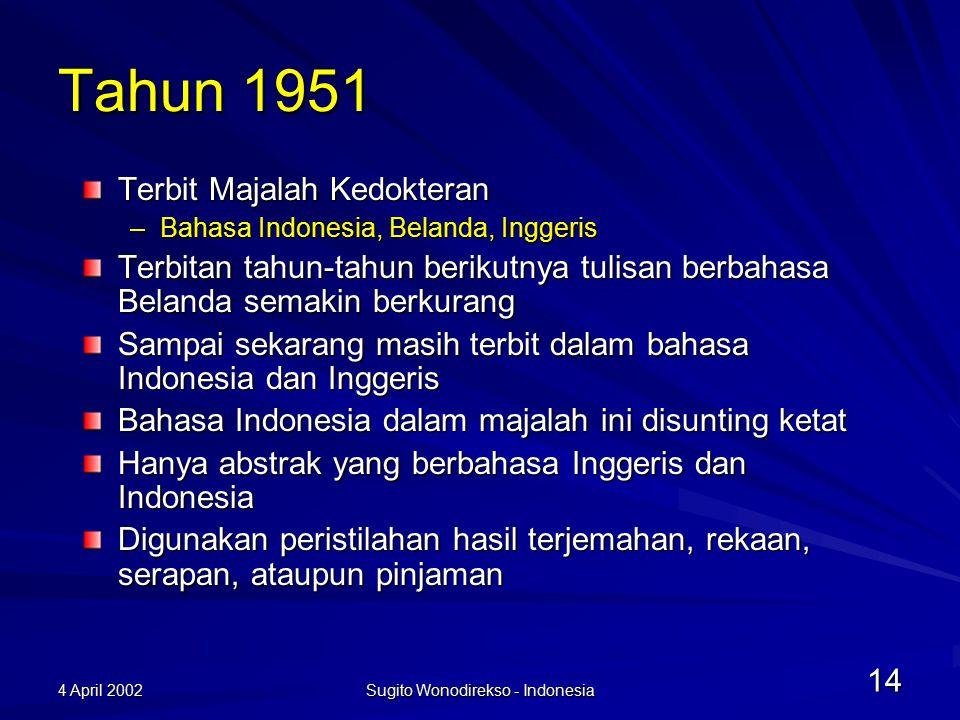 4 April 2002 Sugito Wonodirekso - Indonesia 15 Yang sekarang dilakukan *** proporsi perkiraan Dibuat pedoman penerjemahan istilah keilmuan yang dimuat dalam KBBI Dibangun kerjasama kebahasaan dengan Malaysia dan Brunei Darussalam untuk menyeragamkan peristilahan –80% disepakati sama*** –15% disepakati berbeda tetapi sejalan –5% terpaksa berbeda (beda arti kata yang digunakan)