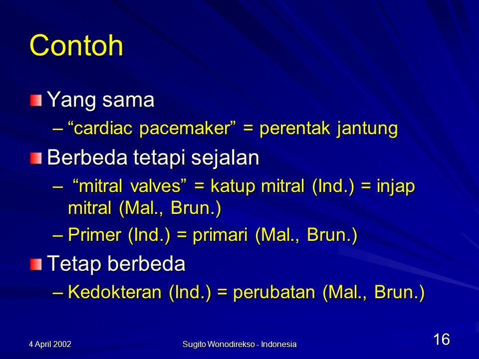 4 April 2002 Sugito Wonodirekso - Indonesia 17 Yang dilakukan sekarang Sitem nomenklatur binomial tidak diterjemahkan akan tetapi dipinjam –Sebagian kecil diserap (jika mungkin) Entamoeba histolytica (mikrobiologi)  Entamuba histolotika –Diterjemahkan (jika sudah lazim) Uterus (anatomi)  rahim Penerjemahan maknawi dan bukan katawi (neologisme)