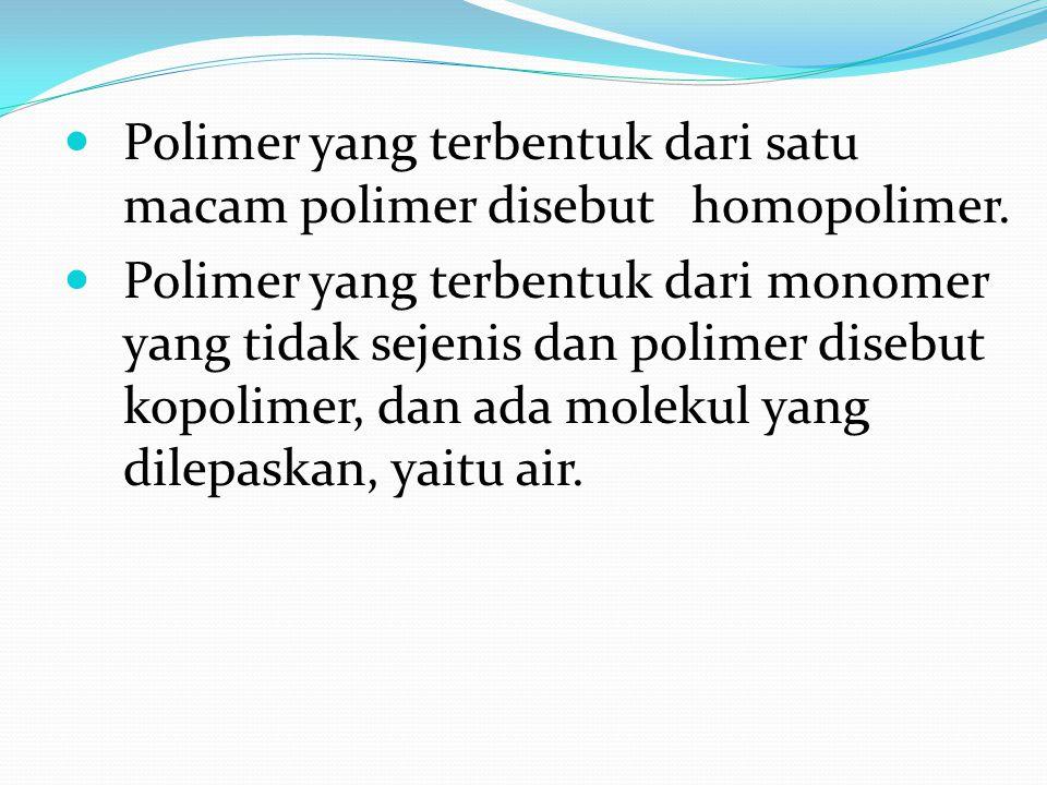 Tabel contoh polimer & terdapatnya JenisPolimerMono mer Polimeri sasi Terdapat nya AlamProtein Amilum Selulosa DNA Karet Asam amino Glukosa Nukleotida Isoprena Kondensasi Addisi Wol Kentang Kayu Gen Ban