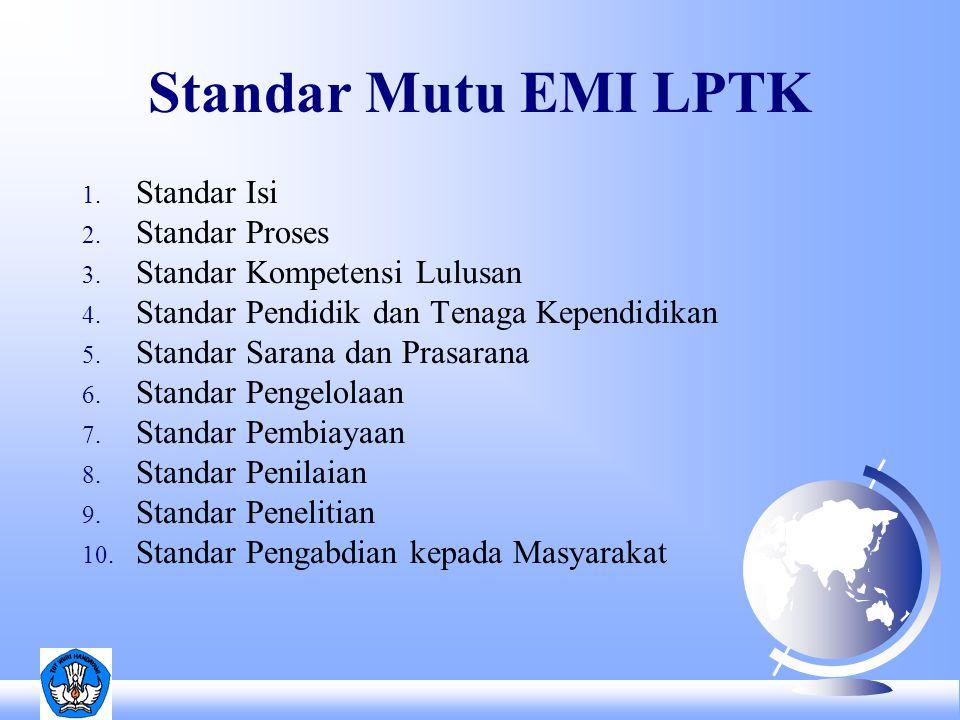 Standar Mutu EMI PT 1.Standar Isi 2. Standar Proses 3.