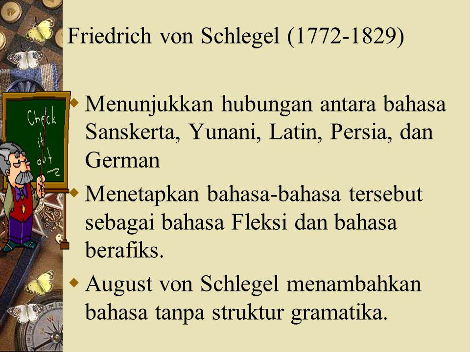 F.Pott (1802-1887)  Menyelidiki etimologi dari bahasa-bahasa Indo German