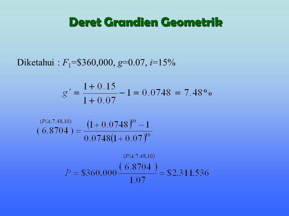  g ' = 0  jika i = g, maka g ' sama dengan nol dan nilai ( ) akan sama dengan n, sehingga persamaan geometric- gradient-series factor menjadi: (P/A,g ',n) Deret Grandien Geometrik
