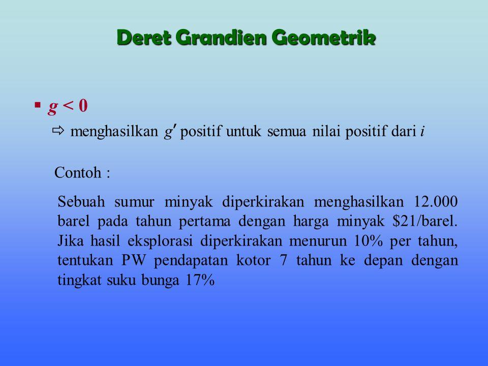 Diketahui : F 1 =12,000 x $21=$252,000, g= -0.1, i=17% (P/A,30,8) Deret Grandien Geometrik