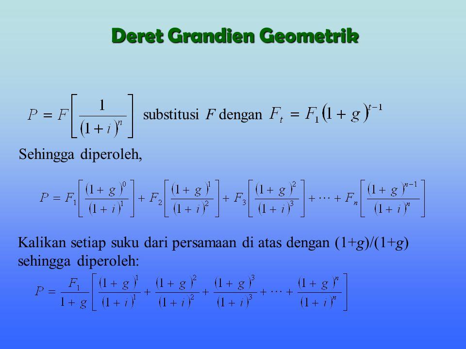 dimana g ' adalah growth-free rate, dan subtitusi dari setiap suku adalah: atau (P/A,g ',n) Misalkan Deret Grandien Geometrik