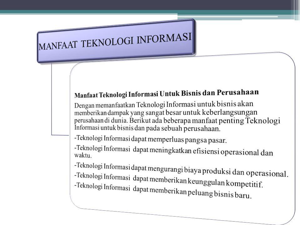 MANFAAT TEKNOLOGI INFORMASI Manfaat Teknologi Informasi dalam perkembangan kehidupan sehari hari memang sangat banyak, manfaat teknologi informasi terutama untuk pendidikan, industri, internet, dan berbagai bisnis dan dunia lainnya sangat lah banyak.
