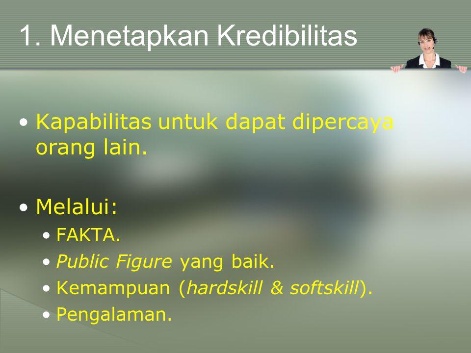 1.Menetapkan Kredibilitas Kapabilitas untuk dapat dipercaya orang lain.