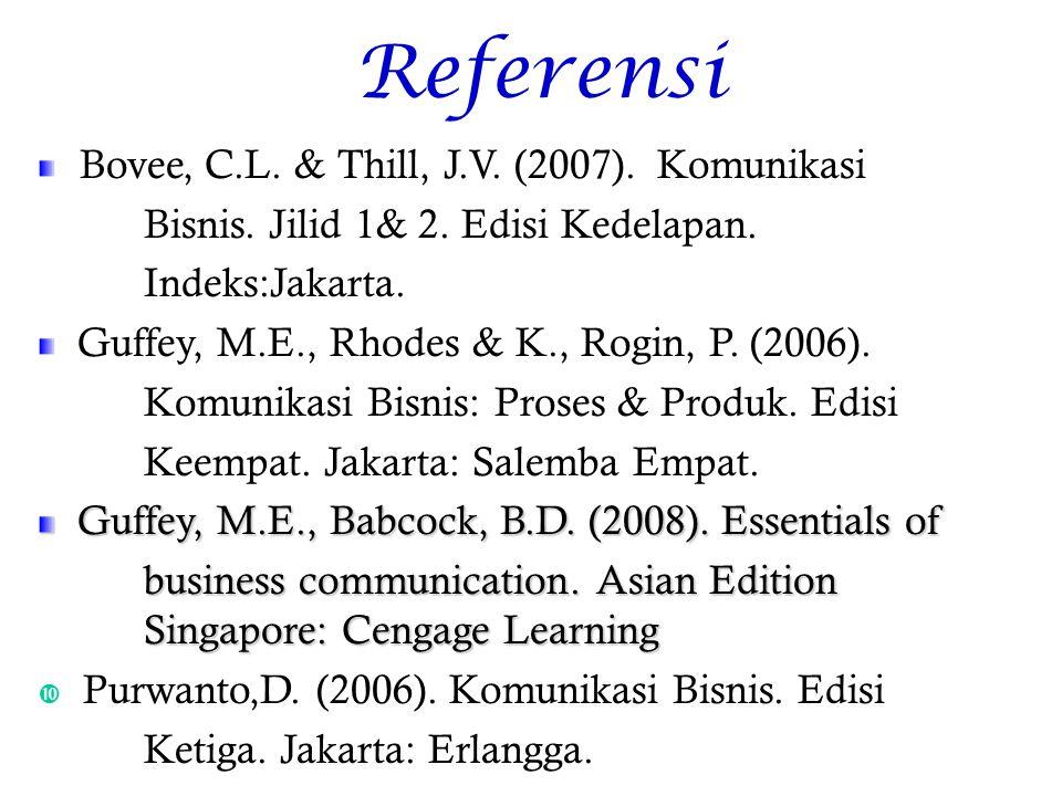 Referensi Bovee, C.L.& Thill, J.V. (2007). Komunikasi Bisnis.