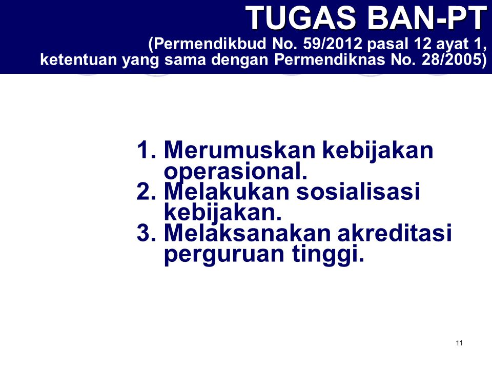 12 FUNGSI BAN-PT (Permendikbud No.