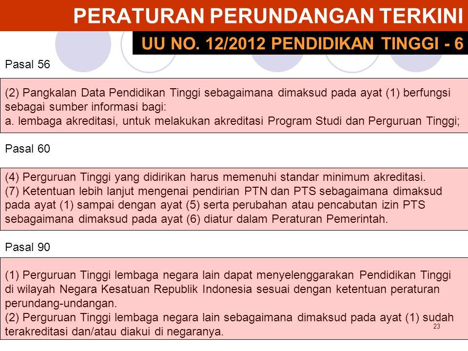 24 PERATURAN PERUNDANGAN TERKINI Pasal 95 Sebelum terbentuknya lembaga akreditasi mandiri, akreditasi program studi dilakukan oleh Badan Akreditasi Nasional Perguruan Tinggi.