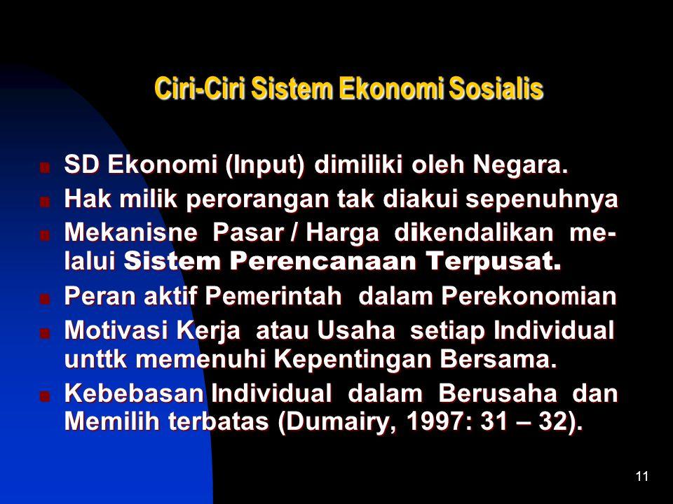 11 Ciri-Ciri Sistem Ekonomi Sosialis Ciri-Ciri Sistem Ekonomi Sosialis SD Ekonomi (Input) dimiliki oleh Negara.