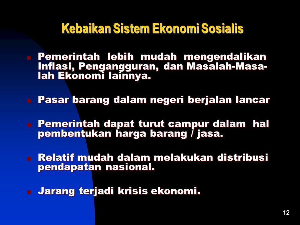 12 Kebaikan Sistem Ekonomi Sosialis Pemerintah lebih mudah mengendalikan Inflasi, Pengangguran, dan Masalah-Masa- lah Ekonomi lainnya.