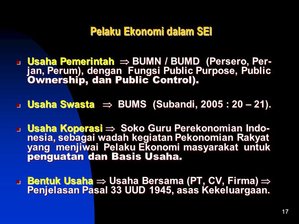 17 Pelaku Ekonomi dalam SEI Pelaku Ekonomi dalam SEI Usaha Pemerintah  BUMN / BUMD (Persero, Per- jan, Perum), dengan Fungsi Public Purpose, Public Ownership, dan Public Control).