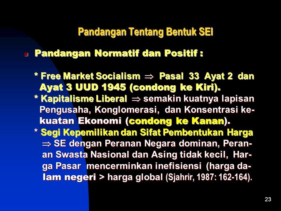 23 Pandangan Tentang Bentuk SEI Pandangan Tentang Bentuk SEI Pandangan Normatif dan Positif : Pandangan Normatif dan Positif : * Free Market Socialism  Pasal 33 Ayat 2 dan * Free Market Socialism  Pasal 33 Ayat 2 dan Ayat 3 UUD 1945 (condong ke Kiri).