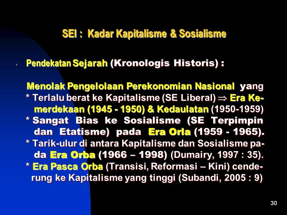 30 SEI : Kadar Kapitalisme & Sosialisme Pendekatan Sejarah (Kronologis Historis) : Pendekatan Sejarah (Kronologis Historis) : Menolak Pengelolaan Perekonomian Nasional ya ng Menolak Pengelolaan Perekonomian Nasional ya ng * Terlalu berat ke Kapitalisme (SE Liberal)  Era Ke- * Terlalu berat ke Kapitalisme (SE Liberal)  Era Ke- merdekaan (1945 - 1950) & Kedaulatan (1950-1959) merdekaan (1945 - 1950) & Kedaulatan (1950-1959) * Sangat Bias ke Sosialisme (SE Terpimpin * Sangat Bias ke Sosialisme (SE Terpimpin dan Etatisme) pada Era Orla (1959 - 1965).