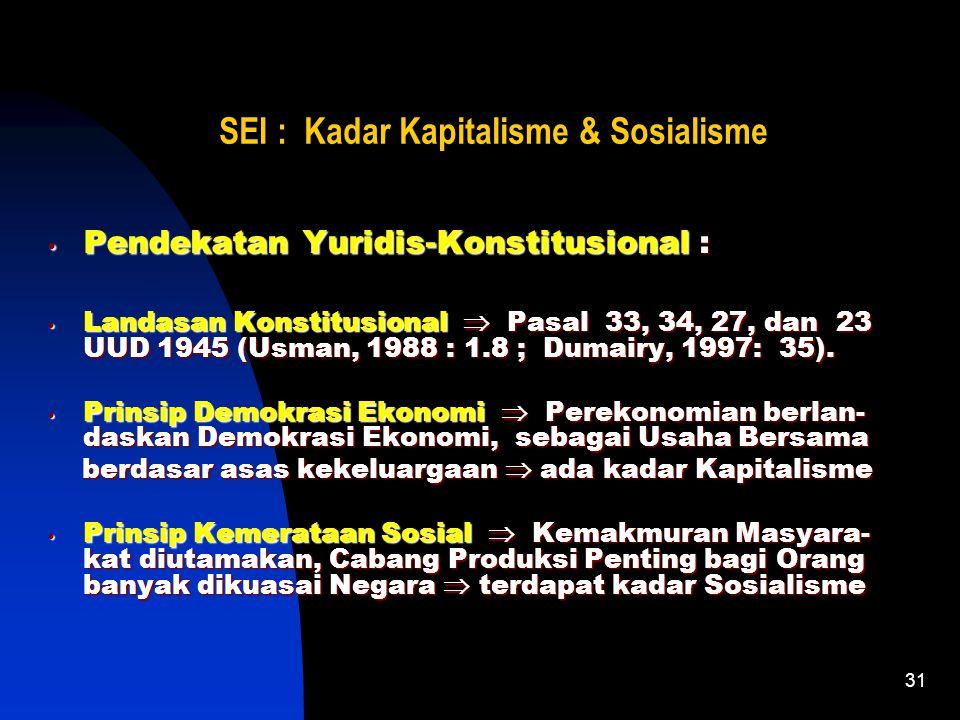 31 SEI : Kadar Kapitalisme & Sosialisme Pendekatan Yuridis-Konstitusional : Landasan Konstitusional  Pasal 33, 34, 27, dan 23 UUD 1945 (Usman, 1988 : 1.8 ; Dumairy, 1997: 35).