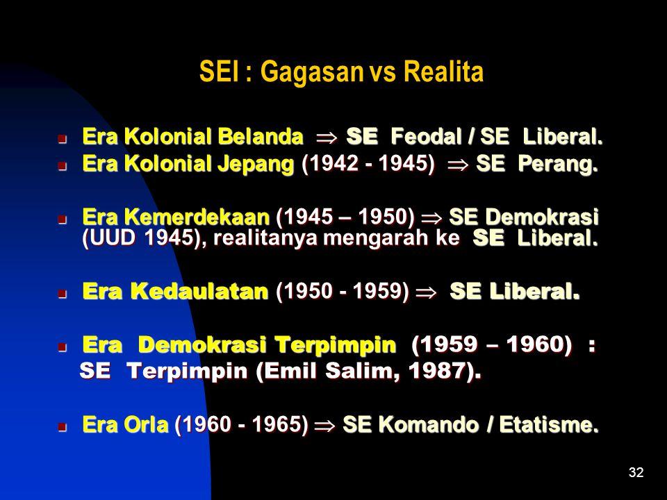 32 SEI : Gagasan vs Realita Era Kolonial Belanda  SE Feodal / SE Liberal.